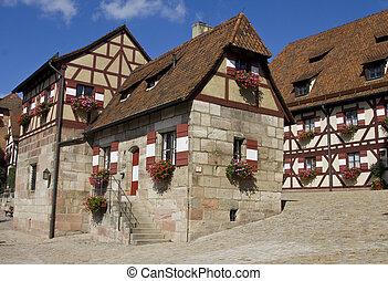 Houses in Imperial Castle Nuremberg in Germany