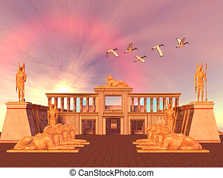 Egyptian Kingdom - A flock of Sacred Ibis birds fly over an...