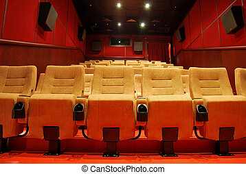 Empty movie theatre - Modern cinema halls and seats