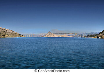 Island of Krk bridge over Sea, Croatia