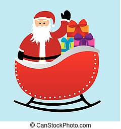 santa claus over sleigh with gifts isolated over blue...