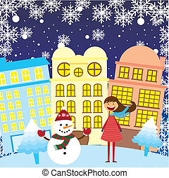 girl and snowman in the city