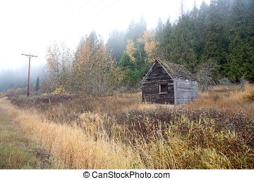 Rustic shed by the road.
