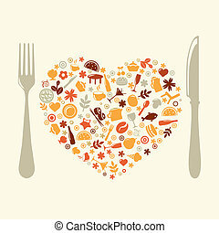 Restaurant Design In Form Of Heart, Vector Illustration