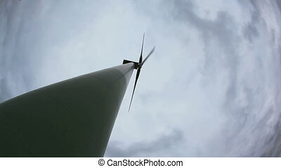 electricity turbine high angel bottom view