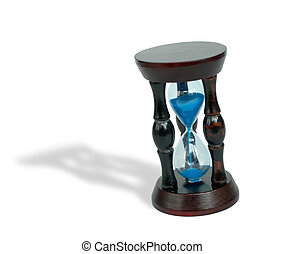 Hourglass with blue sand on white background