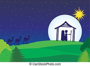 manger vector - manger silhouette with camels over landscape...