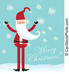 santa claus - cartoon santa claus over snow over blue...