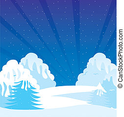 winter shrubbery - cartoon winter shrubbery with snow, night...