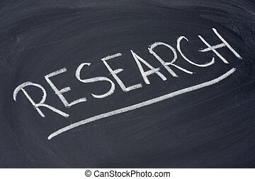 research word on blackboard
