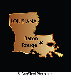 Gold louisiana state map