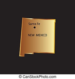 Gold new mexico state map