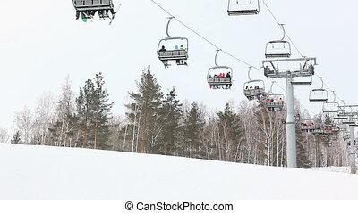 ski elevator - ski lift skiers lifts on the mountain