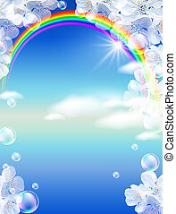 Rainbow and white flowers - Sky, white flowers, clouds,...