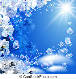 Sky and white flowers - Sky, white flowers, clouds, bubbles...