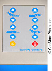 Hospital bed controls - Closeup of the control buttons of a...