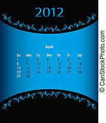 vintage calendar for 2012, april