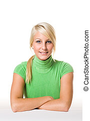 Portrait of beautiful young fit blonde.