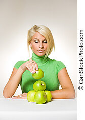 Balanced diet. - Portrait of beautiful fit young blond...