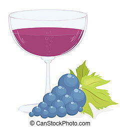 glass of wine and a brush of grapes - full glass of wine and...