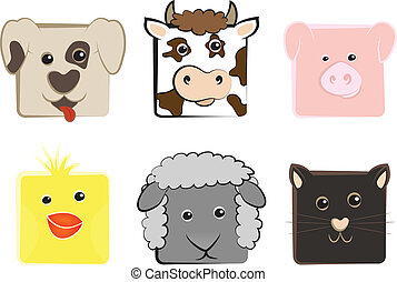 Collection of animals - Collection of domestic animals drawn...