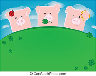 Three lucky pigs standing on a green hill