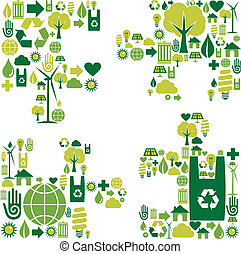 Puzzle piece with environmental icons - Puzzle piece...