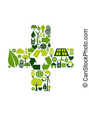 Plus symbol with environmental icons - Sum symbol made with...