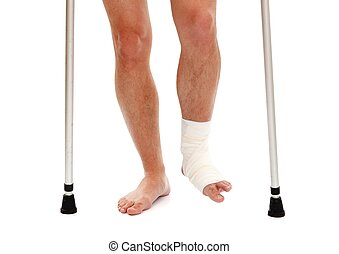 Injured leg - Man with walker having white bandage gauze on...