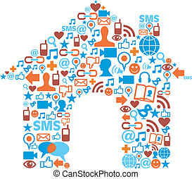 House symbol with media icons texture - Social media icons...