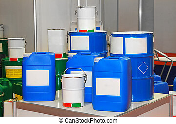 Chemical barrels - Blue barrels and buckets of chemical...