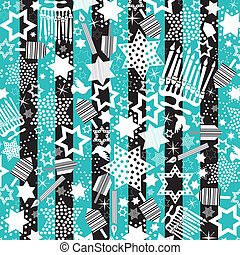 Hanukkah Wallpaper with dreidels, menorahs and stars of...