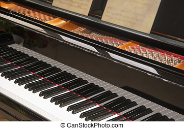 Close view of a grand piano - Close-up photo of the keyboard...