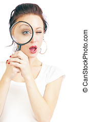 Pretty Young Woman With Magnifying Glass - Attractive young...