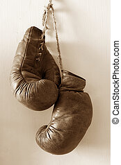 Hang up the gloves - hang up the gloves, old worn leather...