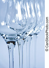 Macro of wine glass arrangement detail.