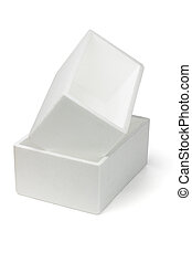 Two Styrofoam boxes - Stack of two Styrofoam boxes on white...