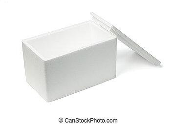 Open Styrofoam storage box on white background