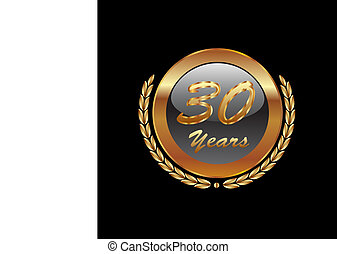 gold laurel wreath 30 years vector