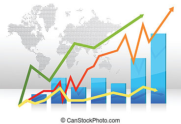 Finance bar graph with arrows illustration