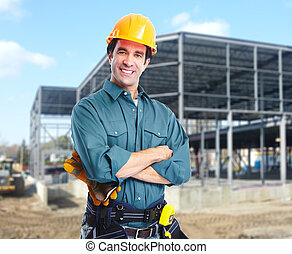 Industrial worker - Industrial worker with yellow helmet at...