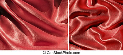 Set of 2 draped red satin backgrounds