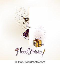 Happy birthday - Festive happy birthday postcard with funny...
