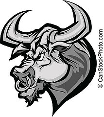 taureau, longhorn, mascotte, tête, vecteur, ca