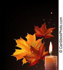 Liście, świeca