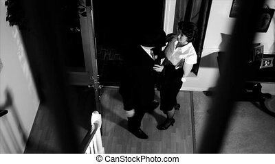 Noir upset wife talking to husband - An annoyed then...