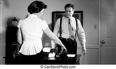 noir man leaves room as wife picks - A scene set in the...