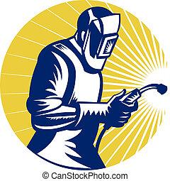 welder welding at work retro style - retro style...