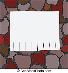 Vector illustration of a brick wall with paper
