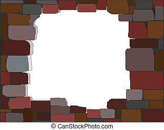 Vector illustration of a stone wall with a hole